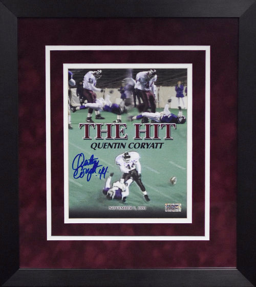Quentin Coryatt Autographed Texas A&M Aggies 8x10 Framed Photograph (The Hit)