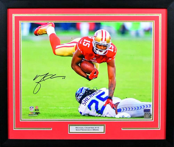Michael Crabtree Autographed San Francisco 49ers 16x20 Framed Photograph (vs Seahawks)