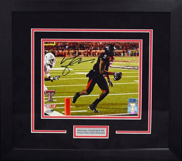 Michael Crabtree Autographed Texas Tech Red Raiders 8x10 Framed Photograph (The Catch)