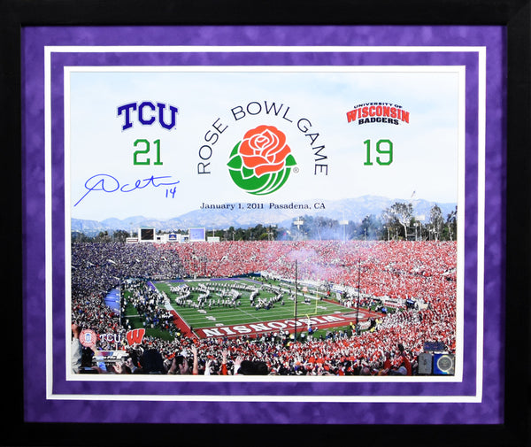 Andy Dalton Autographed TCU Horned Frogs 16x20 Framed Photograph (Rose Bowl)