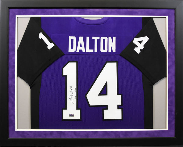 Andy Dalton Autographed TCU Horned Frogs #14 Framed Jersey w/ 13-0