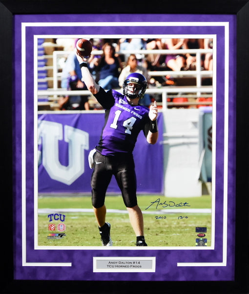 Andy Dalton Autographed TCU Horned Frogs 16x20 Framed Photograph (Passing)
