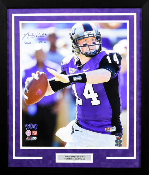 Andy Dalton Autographed TCU Horned Frogs 16x20 Framed Photograph (Closeup)