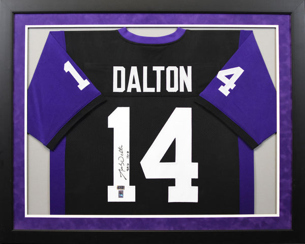 Andy Dalton Autographed TCU Horned Frogs #14 Framed Jersey - Black