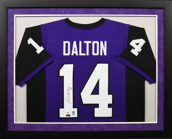 Andy Dalton Autographed TCU Horned Frogs #14 Framed Jersey - Purple
