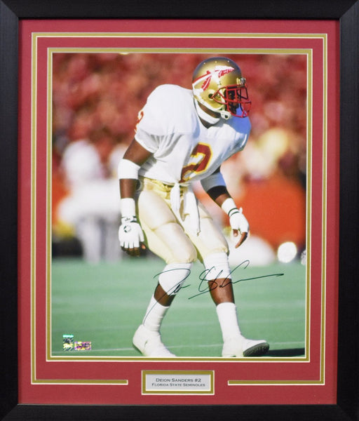 Deion Sanders Autographed Florida State Seminoles 16x20 Framed Photograph - Solo