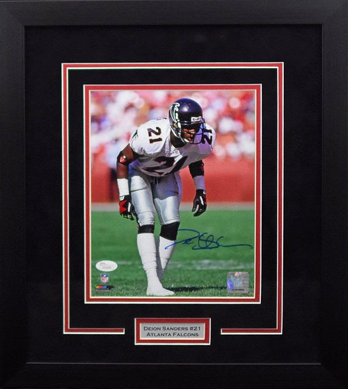 Deion Sanders Autographed Atlanta Falcons 8x10 Framed Photograph (White)