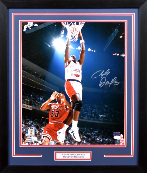Clyde Drexler Autographed Houston Rockets 16x20 Framed Photograph