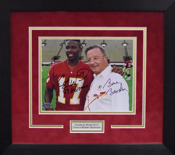 Charlie Ward & Bobby Bowden Autographed Florida State Seminoles 8x10 Framed Photograph
