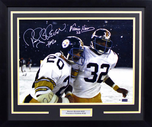 80727ef10b7 Franco Harris & Rocky Bleier Autographed Pittsburgh Steelers 16x20 Framed  Photograph