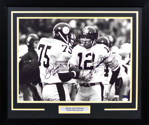 Terry Bradshaw & Joe Greene Autographed Pittsburgh Steelers 16x20 Framed Photograph