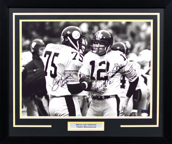 f2997e81061 Terry Bradshaw & Joe Greene Autographed Pittsburgh Steelers 16x20 Framed  Photograph