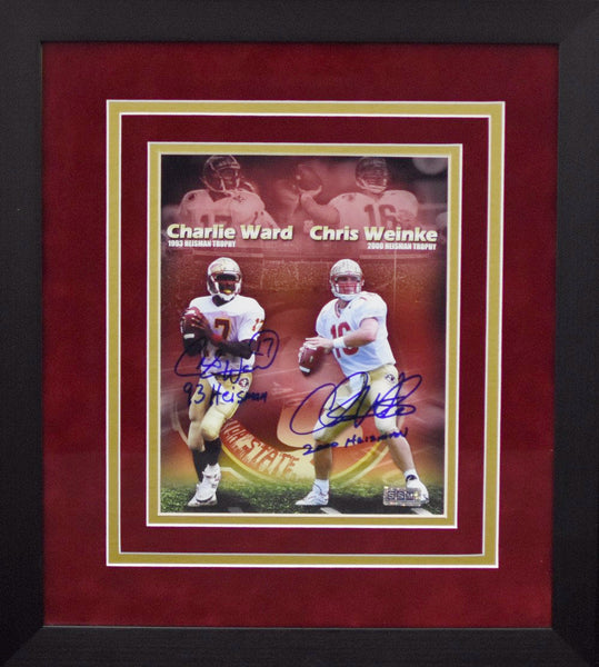 Charlie Ward & Chris Weinke Autographed Florida State Seminoles 8x10 Framed Photograph