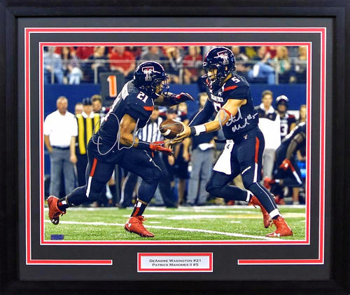 Patrick Mahomes & DeAndre Washington Autographed Texas Tech Red Raiders 16x20 Framed Photograph