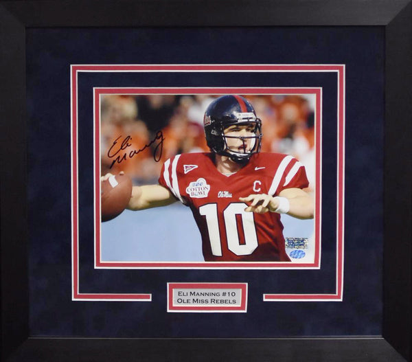 Eli Manning Autographed Ole Miss Rebels 8x10 Framed Photograph