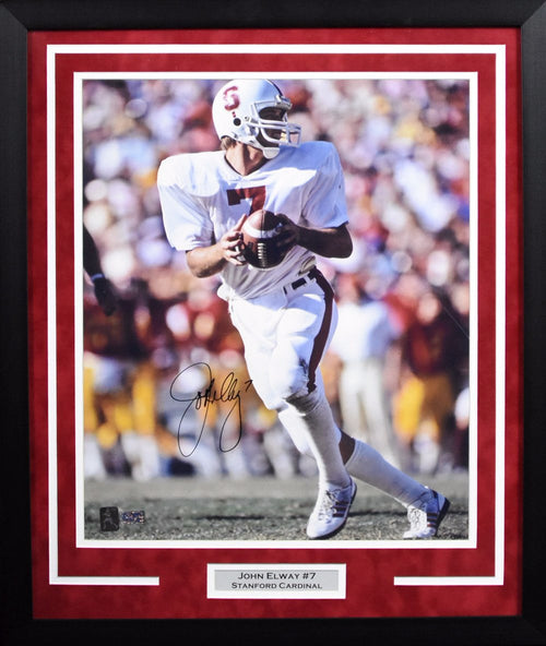 John Elway Autographed Stanford Cardinal 16x20 Framed Photograph (Vertical)
