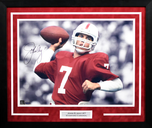 John Elway Autographed Stanford Cardinal 16x20 Framed Photograph (Spotlight)