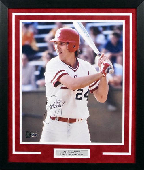 John Elway Autographed Stanford Cardinal 16x20 Framed Photograph (Baseball)