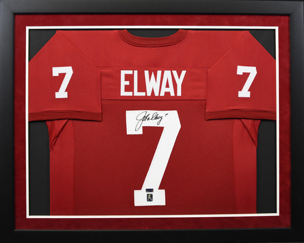 detailed pictures 3f795 9ee00 John Elway Autographed Stanford Cardinal #7 Framed Jersey
