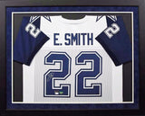 Emmitt Smith Autographed Dallas Cowboys #22 Framed Jersey - White