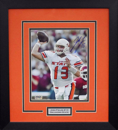 Josh Fields Autographed Oklahoma State Cowboys 8x10 Framed Photograph (vs OU)