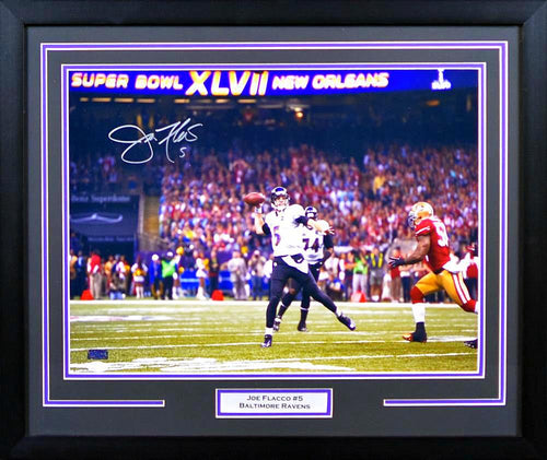 Joe Flacco Autographed Baltimore Ravens 16x20 Framed Photograph