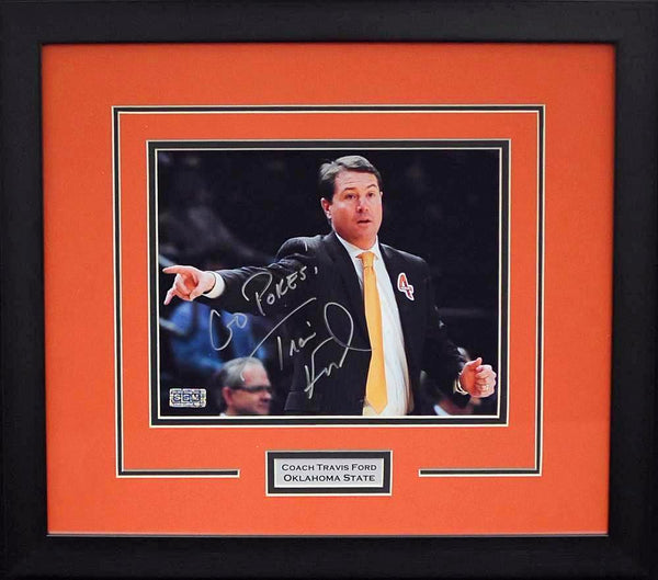 Travis Ford Autographed Oklahoma State Cowboys 8x10 Framed Photograph