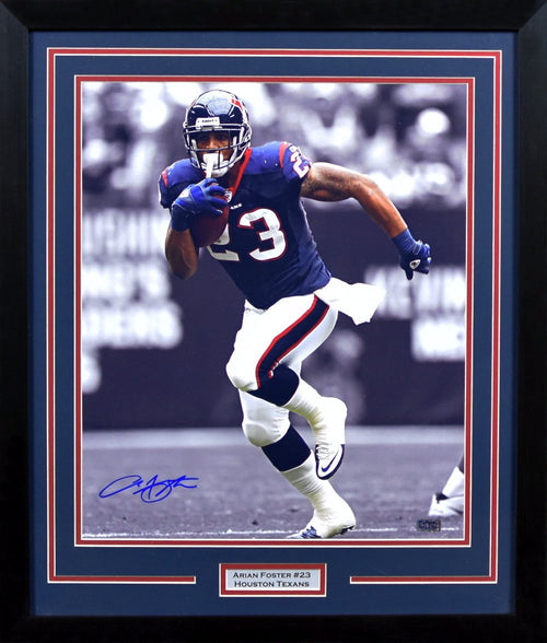 Arian Foster Autographed Houston Texans 16x20 Framed Photograph (Spotlight)
