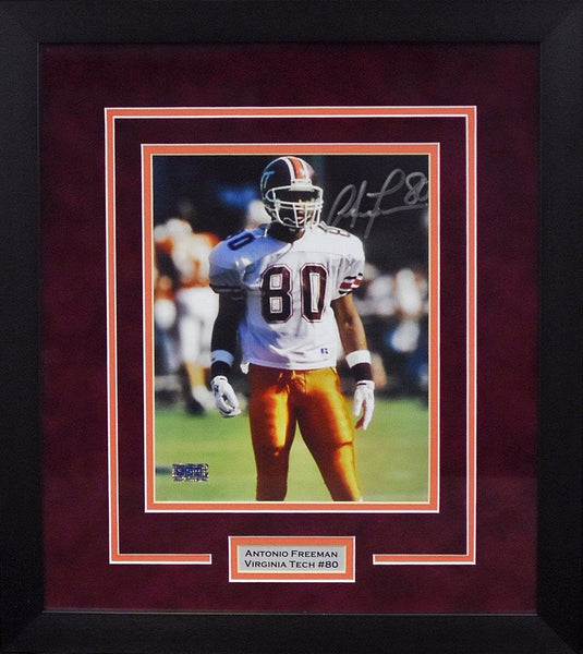 Antonio Freeman Autographed Virginia Tech Hokies 8x10 Framed Photograph (Solo)