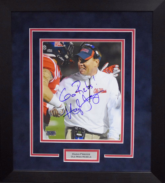 Hugh Freeze Autographed Ole Miss Rebels 8x10 Framed Photograph