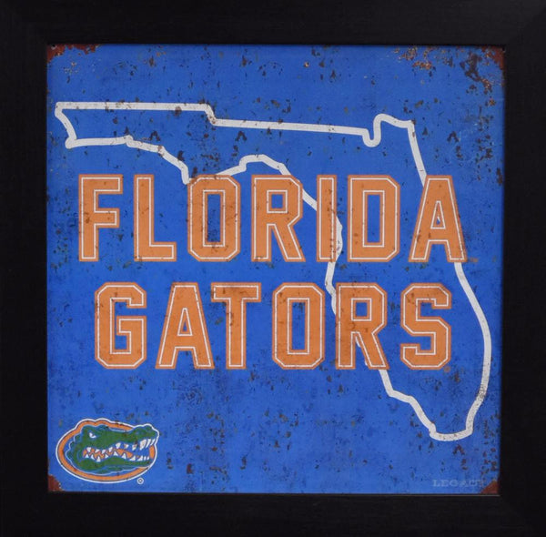 Florida Gators 12x12 Framed Tin Sign - State