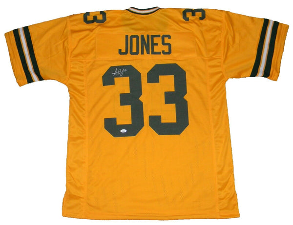Aaron Jones Autographed Green Bay Packers #33 Gold Jersey