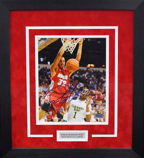 Drew Gordon Autographed New Mexico Lobos 8x10 Framed Photograph (Dunk)
