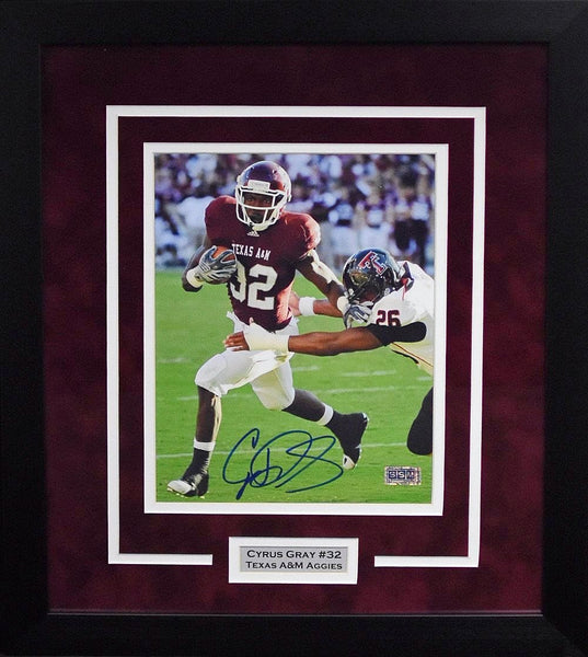 Cyrus Gray Autographed Texas A&M Aggies 8x10 Framed Photograph (vs Texas Tech)