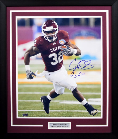 Cyrus Gray Autographed Texas A&M Aggies 16x20 Framed Photograph