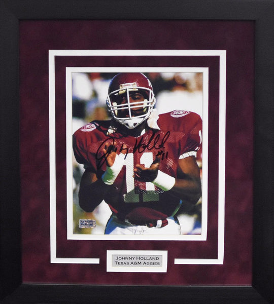 Johnny Holland Autographed Texas A&M Aggies 8x10 Framed Photograph (Solo)