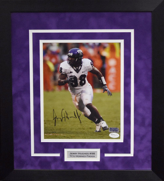Jerry Hughes Autographed TCU Horned Frogs 8x10 Framed Photograph (Solo)