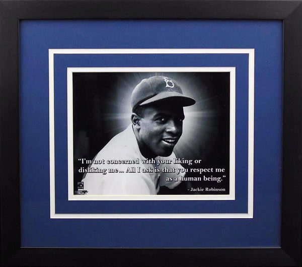 Jackie Robinson Quote Brooklyn Dodgers 8x10 Framed Photograph