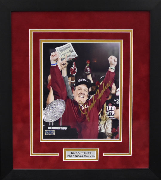 Jimbo Fisher Autographed Florida State Seminoles 8x10 Framed Photograph - BCS