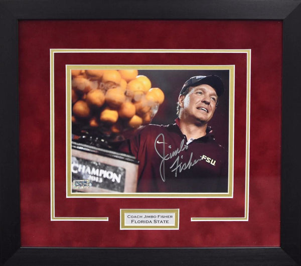 Jimbo Fisher Autographed Florida State Seminoles 8x10 Framed Photograph - Orange Bowl