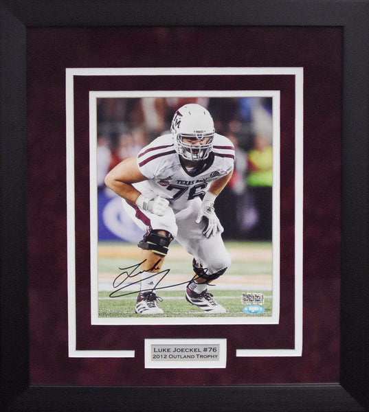 Luke Joeckel Autographed Texas A&M Aggies 8x10 Framed Photograph