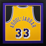 Kareem Abdul-Jabbar Autographed Los Angeles Lakers #33 Adidas Swingman Framed Jersey - Gold