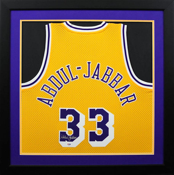 2c96bc88b Kareem Abdul-Jabbar Autographed Los Angeles Lakers  33 Adidas Swingman  Framed Jersey - Gold
