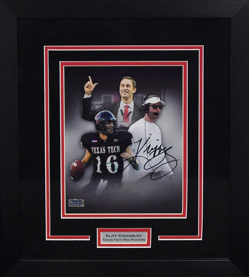Kliff Kingsbury Autographed Texas Tech Red Raiders 8x10 Framed Photograph (Collage)
