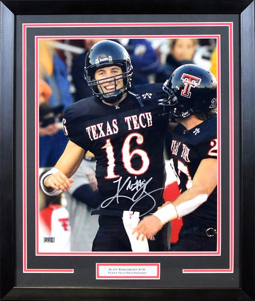 Kliff Kingsbury Autographed Texas Tech Red Raiders 16x20 Framed Photograph (w/ Wes Welker)