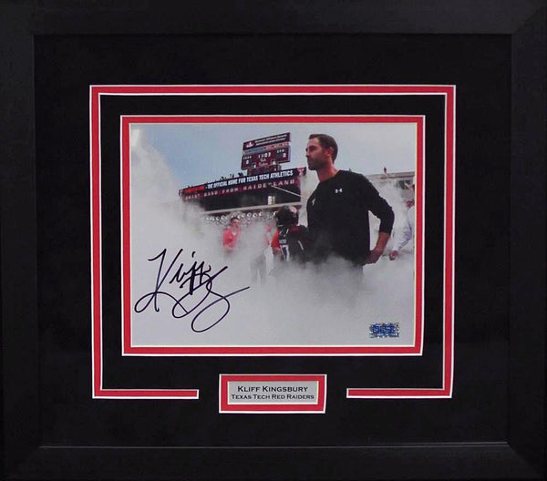 Kliff Kingsbury Autographed Texas Tech Red Raiders 8x10 Framed Photograph (Smoke)