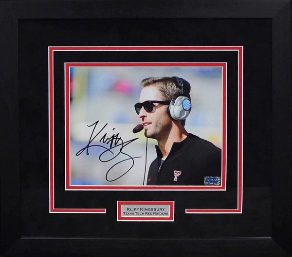 Kliff Kingsbury Autographed Texas Tech Red Raiders 8x10 Framed Photograph (Profile)