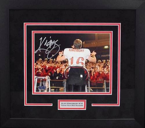 Kliff Kingsbury Autographed Texas Tech Red Raiders 8x10 Framed Photograph (Band)