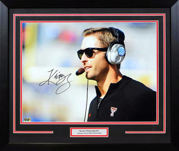Kliff Kingsbury Autographed Texas Tech Red Raiders 16x20 Framed Photograph (Profile)
