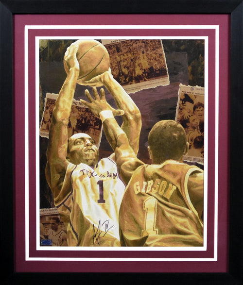 Acie Law IV Autographed Texas A&M Aggies 16x20 Framed Photograph (The Shot)